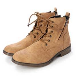 ブーツ メンズ サイドジップレースアップブーツ (CAMEL)