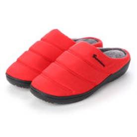 サンダル メンズ 撥水キルティング ダウン クロッグサンダル (RED)