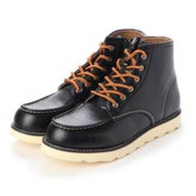 ブーツ メンズ 軽量サイドジップワークブーツ (BLACK)