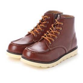 ブーツ メンズ 軽量サイドジップワークブーツ (BROWN)