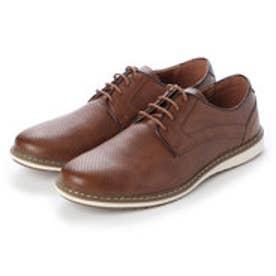 シューズ メンズ PUレザーカジュアル ビジカジ コンフォート靴 (BROWN)