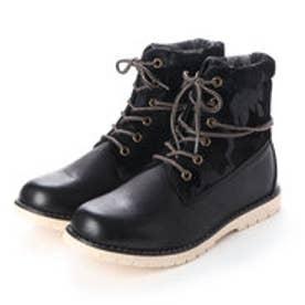 ブーツ メンズ 4cm防水ロールトップワークブーツ (BLACK)