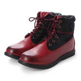 ブーツ メンズ 4cm防水ロールトップワークブーツ (RED)