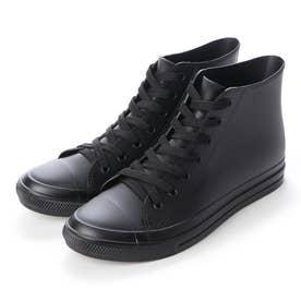 レインスニーカー メンズ ハイカットシューズ 防水雨靴(BLACK)