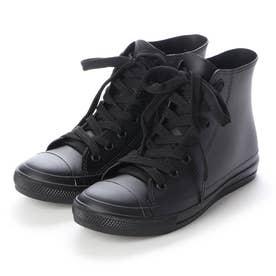 レインスニーカー レディース ハイカットシューズ 防水雨靴(BLACK)