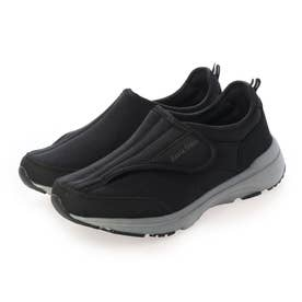 「新あなた想い」 介護シューズ レディース 室内 幅広 3E 4E 軽量靴 マジックテープ リハビリシューズ 外反母趾 (BLACK) Braccianoセレクト
