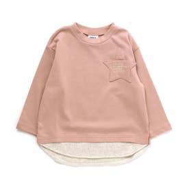 スターポケットレイヤード風Tシャツ (ピンク)