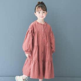 WEB限定ティアードシャツワンピース (ピンク)