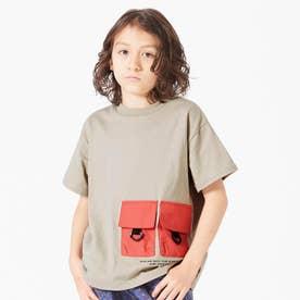 フラップポケットTシャツ (ベージュ)