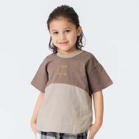 WEB限定切り替えTシャツ (ブラウン)