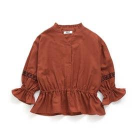 袖刺繍ブラウス (ブラウン)