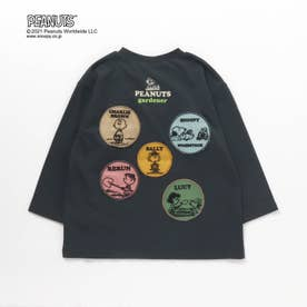 PEANUTS ガーデンワッペンリンクTシャツ(スヌーピー) (チャコール)