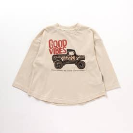 2柄ステッチ刺繍Tシャツ (アイボリー)
