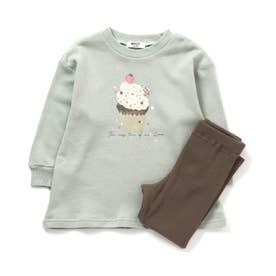 Girl'sカップケーキ柄かぶりパジャマ (ミント)
