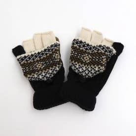 ジャガードニット手袋 (ブラック)