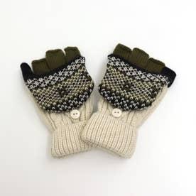ジャガードニット手袋 (アイボリー)