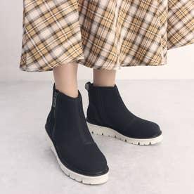 撥水レザーアウトサイドジッパー厚底ブーツ (ブラックヌバック)