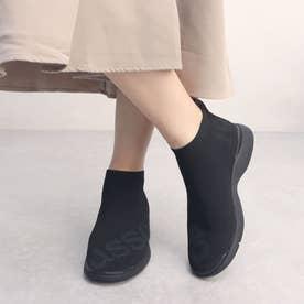 ロゴペイントニットスニーカーブーツ (ブラック雑材)