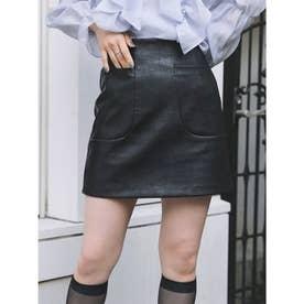 レザー台形スカート (ブラック)
