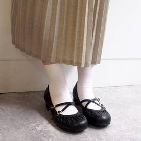 おでこ靴の新定番!ギャザーストラップパンプス (ブラック)