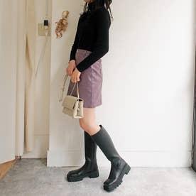 美脚効果のあるフィット感・厚底コンバットロングブーツ (ブラック)