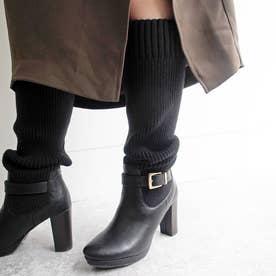 フェミニンなやわらかい印象の厚底ニットロングブーツ (ブラック)