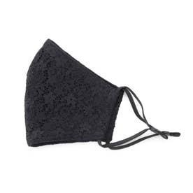 【内側保湿/静電気防止】ケース付きレースマスク (ブラック)