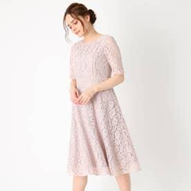 【ママスーツ/セレモニー/結婚式/ドレス】総フラワーレースフレアワンピース (ピンク)
