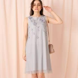 【セレモニー/ドレス/結婚式】フラワーモチーフチュールワンピース (ライトグレー)
