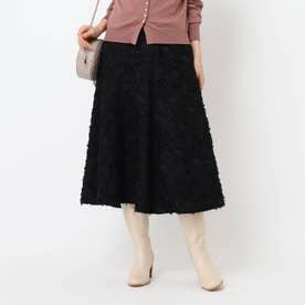 【WEB限定サイズ(S)あり】フレアジャガードスカート (ブラック)