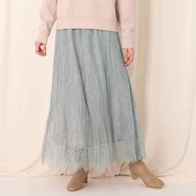 ひげレースプリーツスカート (ライトグレー)