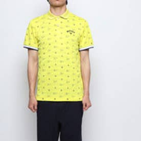 メンズ ゴルフ 半袖シャツ モノグラムプリントボーダージャカードポロシャツ 2419151521