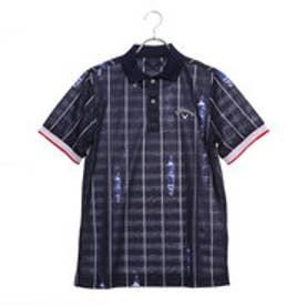 メンズ ゴルフ 半袖シャツ ストライププリントボーダーポロシャツ 2419151524