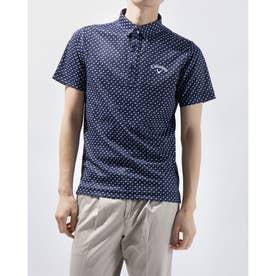 メンズ ゴルフ 半袖シャツ 半袖シャツリーフプリントカノコ 2411134508 (ネイビー)