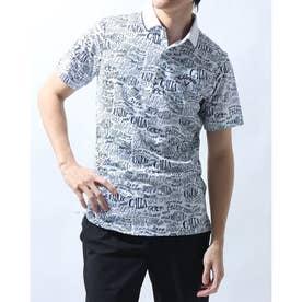 メンズ ゴルフ 半袖シャツ 半袖シャツレタードプリントピケメッシュ 2411134509 (ホワイト)