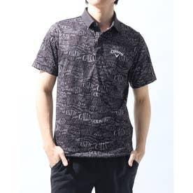 メンズ ゴルフ 半袖シャツ 半袖シャツレタードプリントピケメッシュ 2411134509 (ブラック)