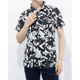 メンズ ゴルフ 半袖シャツ 半袖シャツ壁画プリントカノコ 2411134519 (ブラック)
