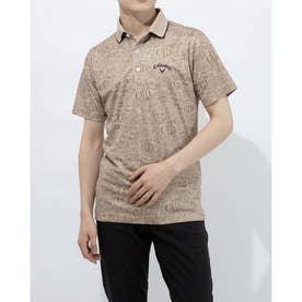 メンズ ゴルフ 半袖シャツ 半袖シャツレタードプリントピケメッシュ 2411134509 (ベージュ)