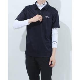メンズ ゴルフ セットシャツ 半袖シャツWIND SENSORインナー付 2411134540 (ネイビー)