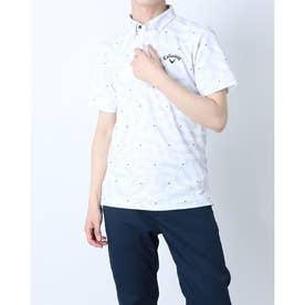 メンズ ゴルフ 半袖シャツ 半袖シャツ幾何学サンゴプリントカノコ 2411134532 (ホワイト)