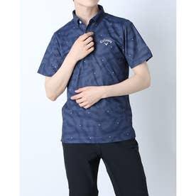 メンズ ゴルフ 半袖シャツ 半袖シャツ幾何学サンゴプリントカノコ 2411134532 (ネイビー)