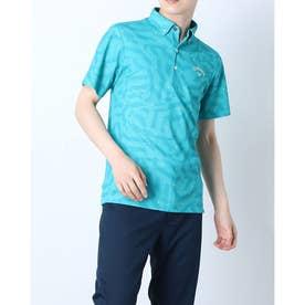 メンズ ゴルフ 半袖シャツ 半袖シャツ幾何学サンゴプリントカノコ 2411134532 (ブルー)