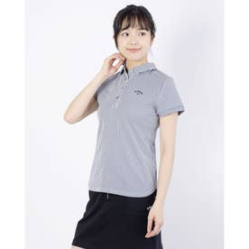 レディース ゴルフ 半袖シャツ 半袖シャツストライプジャカード 2411134806 (ネイビー)