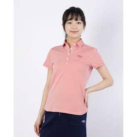 レディース ゴルフ 半袖シャツ 半袖シャツストライプジャカード 2411134806 (レッド)