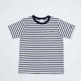 ジュニア 半袖Tシャツ チャンピオンポケ付ボーダー半袖Tシャツ_ CK-T304 (ホワイト)