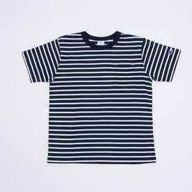 ジュニア 半袖Tシャツ チャンピオンポケ付ボーダー半袖Tシャツ_ CK-T304 (ネイビー)