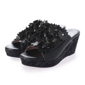 フラワーモチーフサンダル (ブラック)