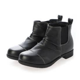 防滑シャーリング加工ショートブーツブーツ (ブラック)