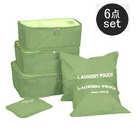 荷物整理に大活躍★トラベルポーチ6点セット バッグインバッグ(グリーン)