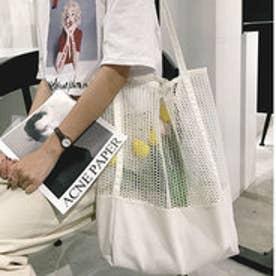 レディース 大容量のメッシュトートバッグ (ホワイト)